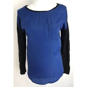 Michael Kors • Herringbone Blue and Black Top